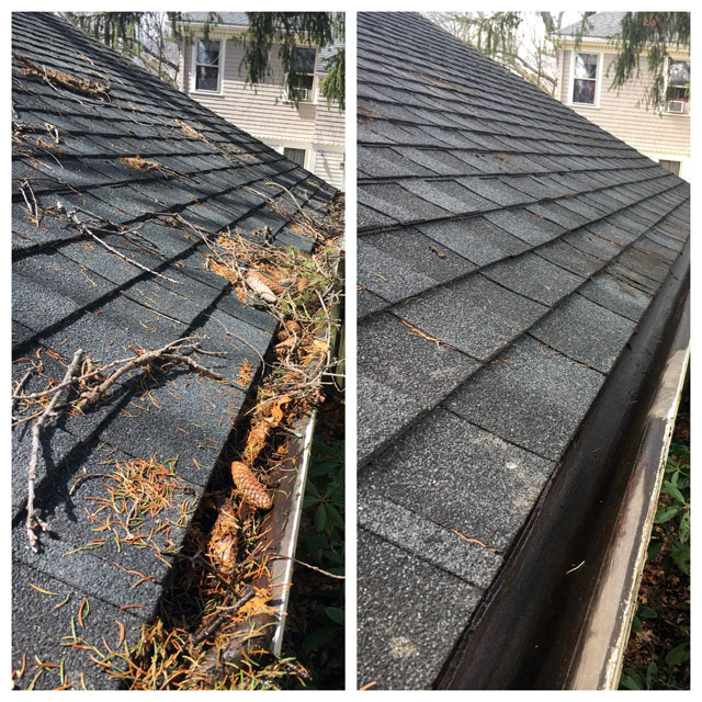 gutter before and after cleaning